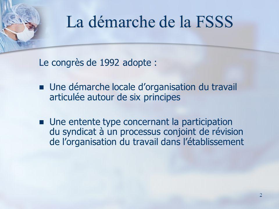 2 La démarche de la FSSS Le congrès de 1992 adopte : Une démarche locale dorganisation du travail articulée autour de six principes Une entente type concernant la participation du syndicat à un processus conjoint de révision de lorganisation du travail dans létablissement