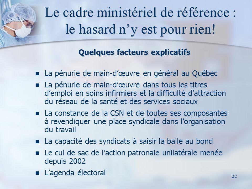 22 Le cadre ministériel de référence : le hasard ny est pour rien! Quelques facteurs explicatifs La pénurie de main-dœuvre en général au Québec La pén