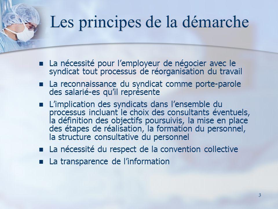3 Les principes de la démarche La nécessité pour lemployeur de négocier avec le syndicat tout processus de réorganisation du travail La reconnaissance