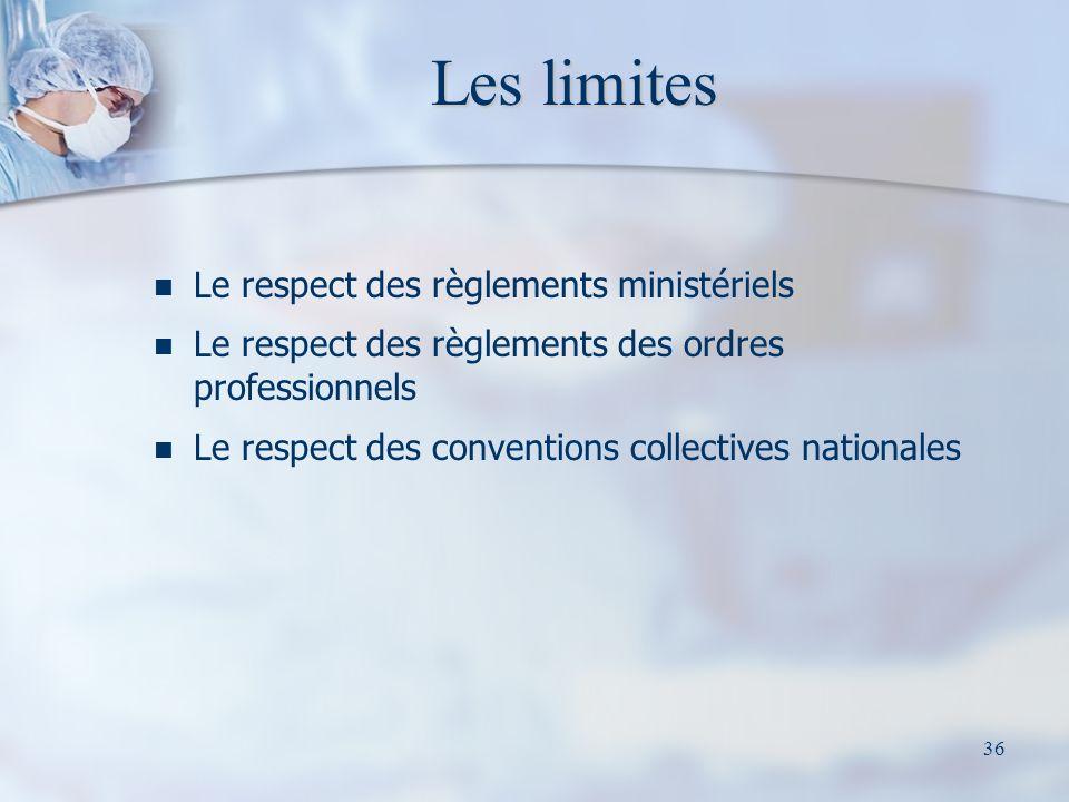 36 Les limites Le respect des règlements ministériels Le respect des règlements des ordres professionnels Le respect des conventions collectives natio