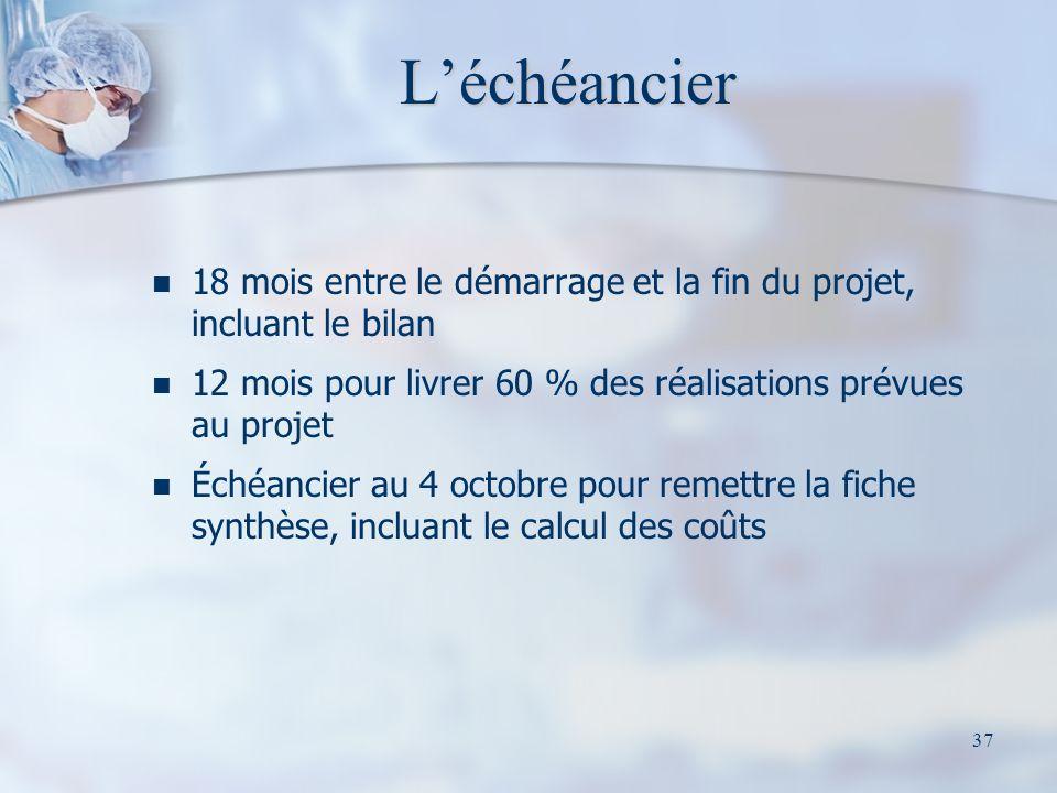 37 Léchéancier 18 mois entre le démarrage et la fin du projet, incluant le bilan 12 mois pour livrer 60 % des réalisations prévues au projet Échéancier au 4 octobre pour remettre la fiche synthèse, incluant le calcul des coûts