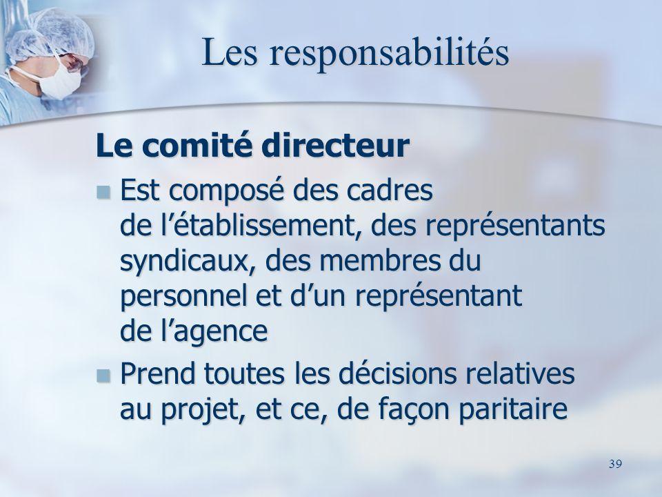 39 Les responsabilités Le comité directeur Est composé des cadres de létablissement, des représentants syndicaux, des membres du personnel et dun repr