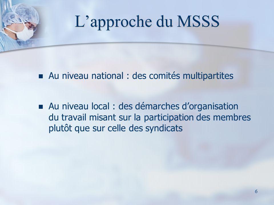 6 Lapproche du MSSS Au niveau national : des comités multipartites Au niveau local : des démarches dorganisation du travail misant sur la participatio