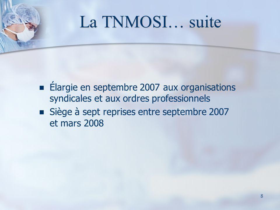 8 La TNMOSI… suite Élargie en septembre 2007 aux organisations syndicales et aux ordres professionnels Siège à sept reprises entre septembre 2007 et mars 2008