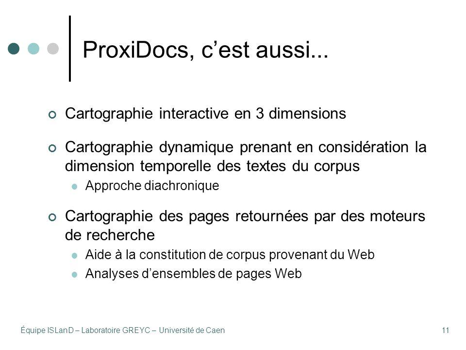 Équipe ISLanD – Laboratoire GREYC – Université de Caen11 ProxiDocs, cest aussi...