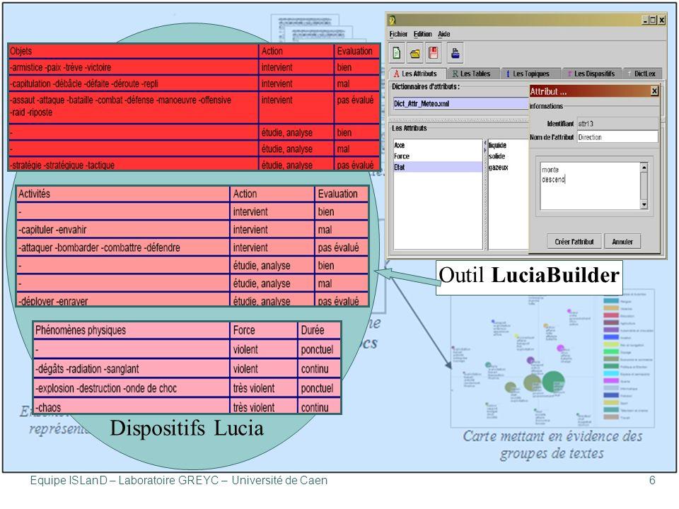 Équipe ISLanD – Laboratoire GREYC – Université de Caen6 Dispositifs Lucia Outil LuciaBuilder
