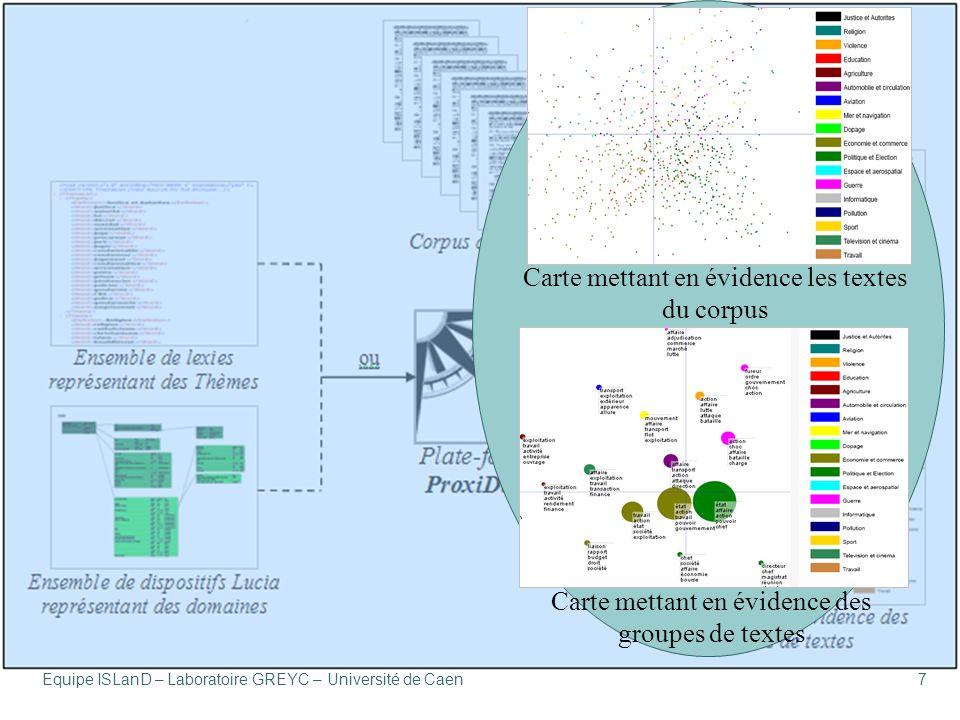 Équipe ISLanD – Laboratoire GREYC – Université de Caen7 Carte mettant en évidence des groupes de textes Carte mettant en évidence les textes du corpus