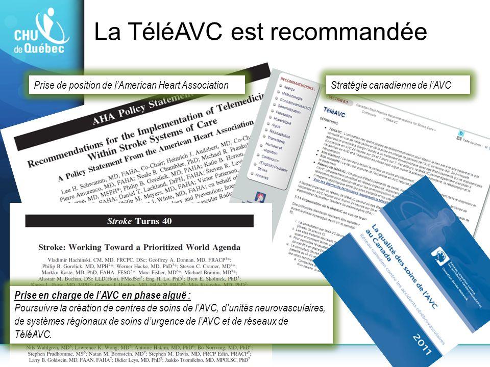 Prise en charge de lAVC en phase aiguë : Poursuivre la création de centres de soins de lAVC, dunités neurovasculaires, de systèmes régionaux de soins