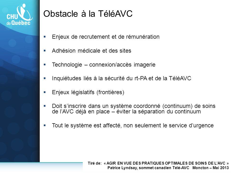 Obstacle à la TéléAVC Enjeux de recrutement et de rémunération Adhésion médicale et des sites Technologie – connexion/accès imagerie Inquiétudes liés