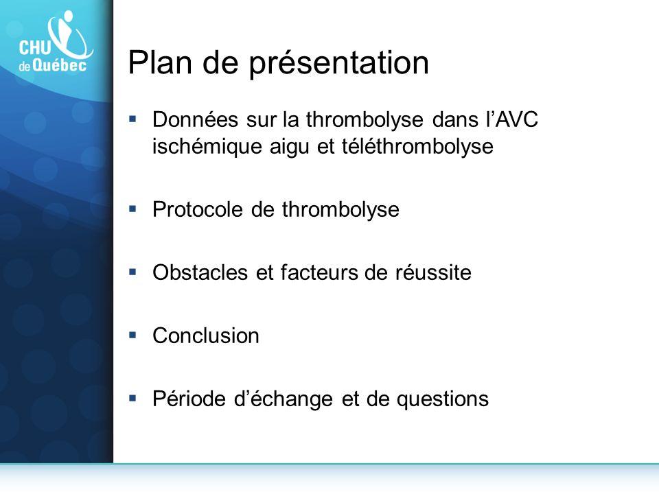 Plan de présentation Données sur la thrombolyse dans lAVC ischémique aigu et téléthrombolyse Protocole de thrombolyse Obstacles et facteurs de réussit