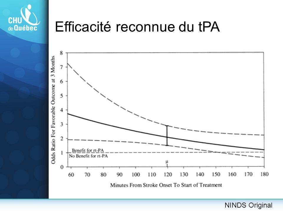 Efficacité reconnue du tPA NINDS Original