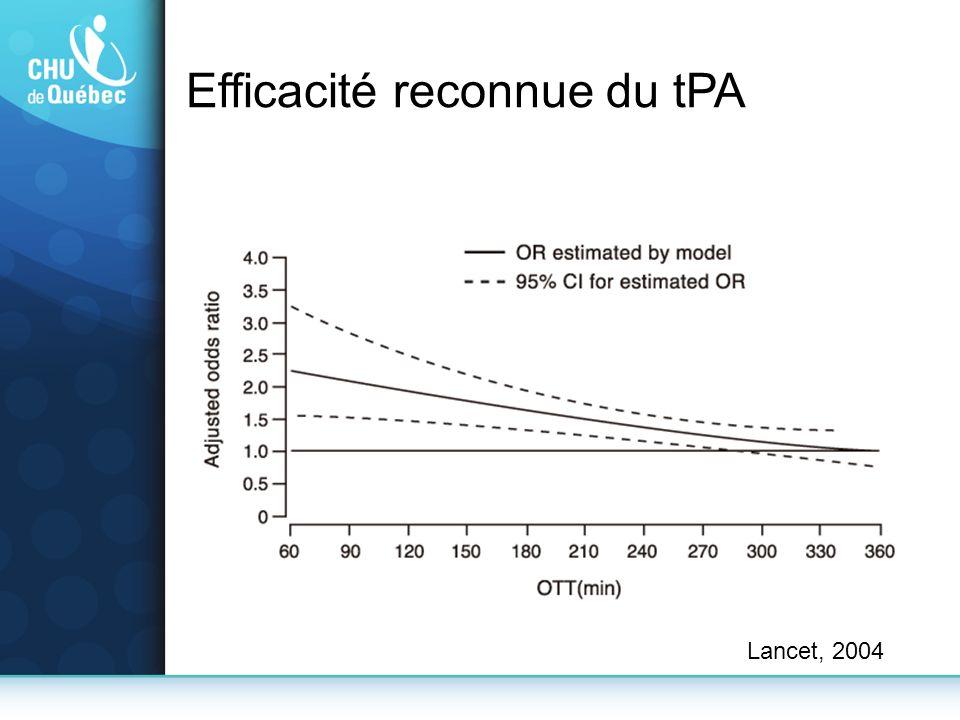 Lancet, 2004 Efficacité reconnue du tPA