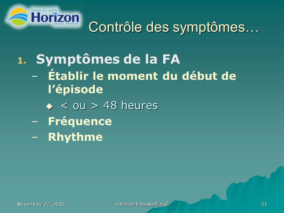 November 27, 2010 michael k howlett md 11 Contrôle des symptômes… 1.