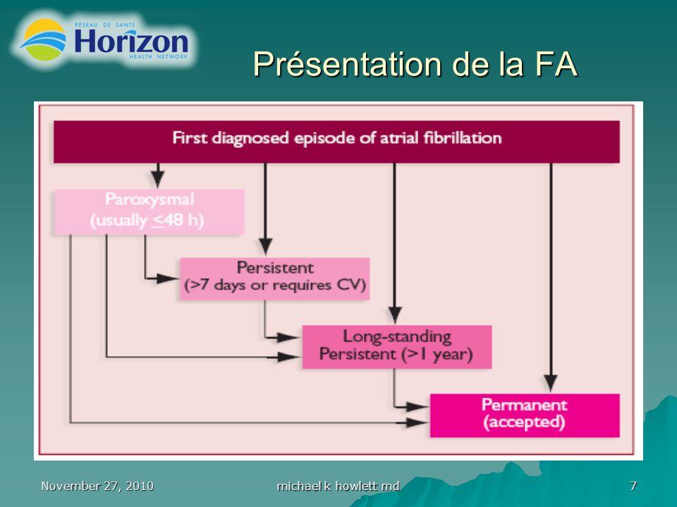 November 27, 2010 michael k howlett md 18 Fibrillation auriculaire Risques liés à lanticoagulation Un score de 3 ou plus représente un risque élevé
