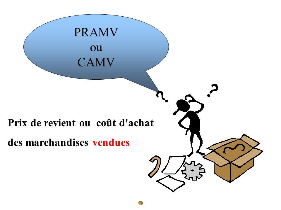 PRAMV ou CAMV Prix de revient ou coût d'achat des marchandises vendues