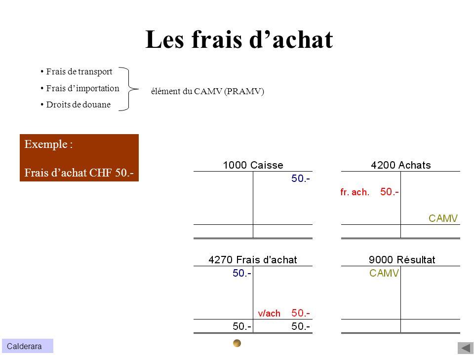 Les frais dachat Frais de transport Frais dimportation Droits de douane élément du CAMV (PRAMV) Exemple : Frais dachat CHF 50.- Calderara