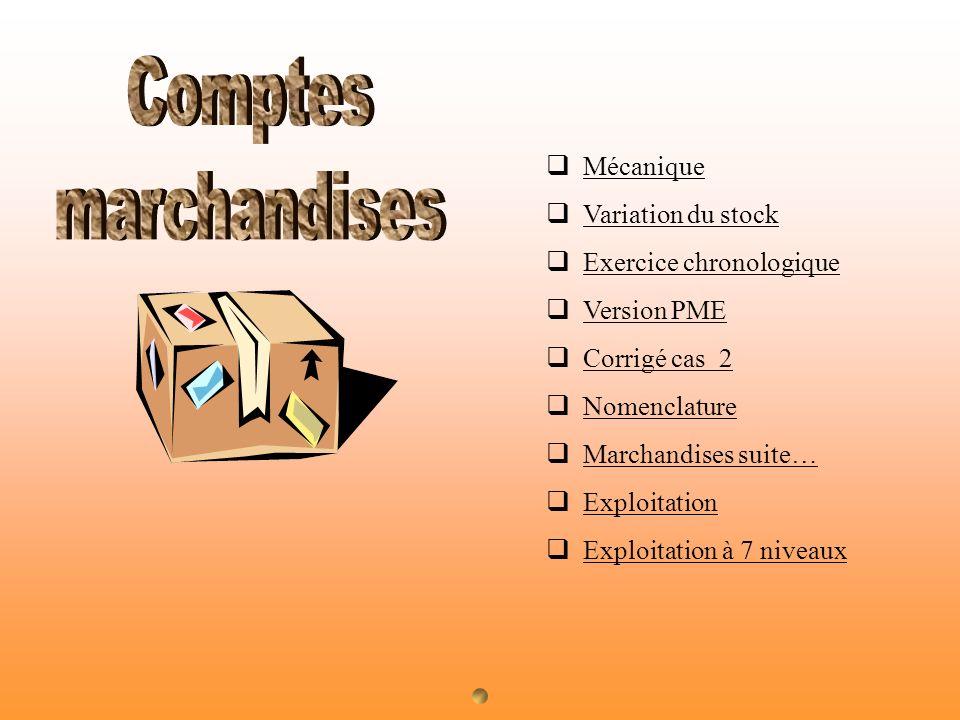 Mécanique Variation du stock Exercice chronologique Version PME Corrigé cas 2 Nomenclature Marchandises suite… Exploitation Exploitation à 7 niveaux