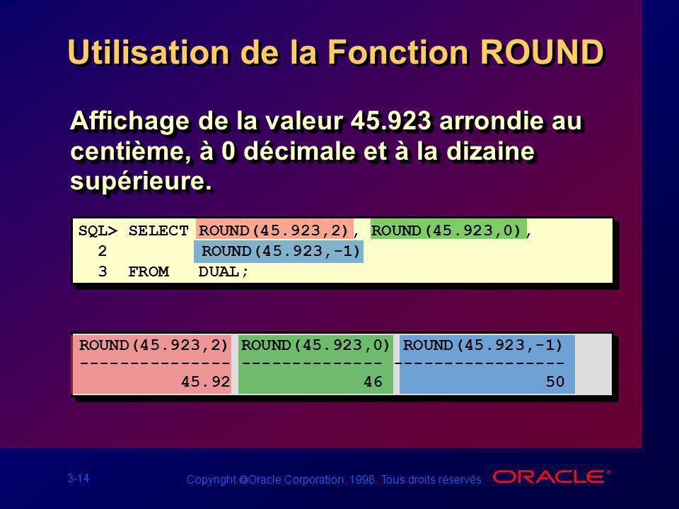 3-14 Copyright Oracle Corporation, 1998. Tous droits réservés. Utilisation de la Fonction ROUND Affichage de la valeur 45.923 arrondie au centième, à