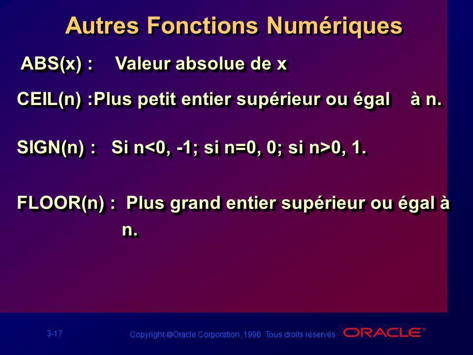 3-17 Copyright Oracle Corporation, 1998. Tous droits réservés. Autres Fonctions Numériques ABS(x) :Valeur absolue de x CEIL(n) :Plus petit entier supé