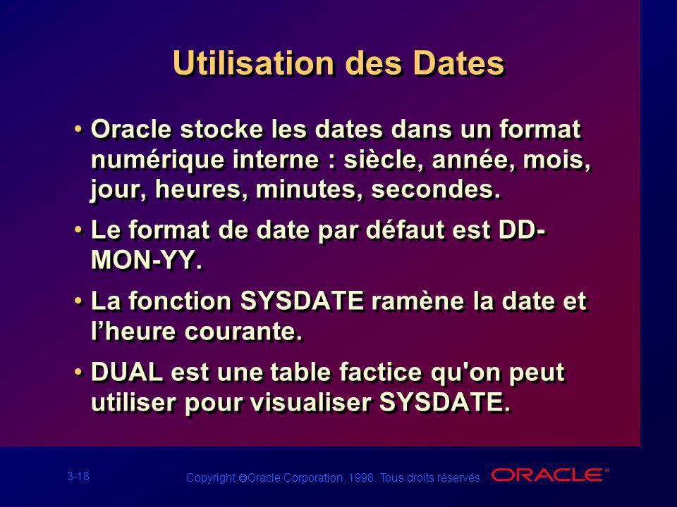 3-18 Copyright Oracle Corporation, 1998. Tous droits réservés. Utilisation des Dates Oracle stocke les dates dans un format numérique interne : siècle