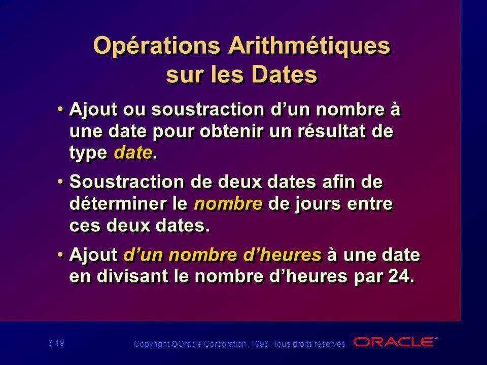 3-19 Copyright Oracle Corporation, 1998. Tous droits réservés. Opérations Arithmétiques sur les Dates Ajout ou soustraction dun nombre à une date pour