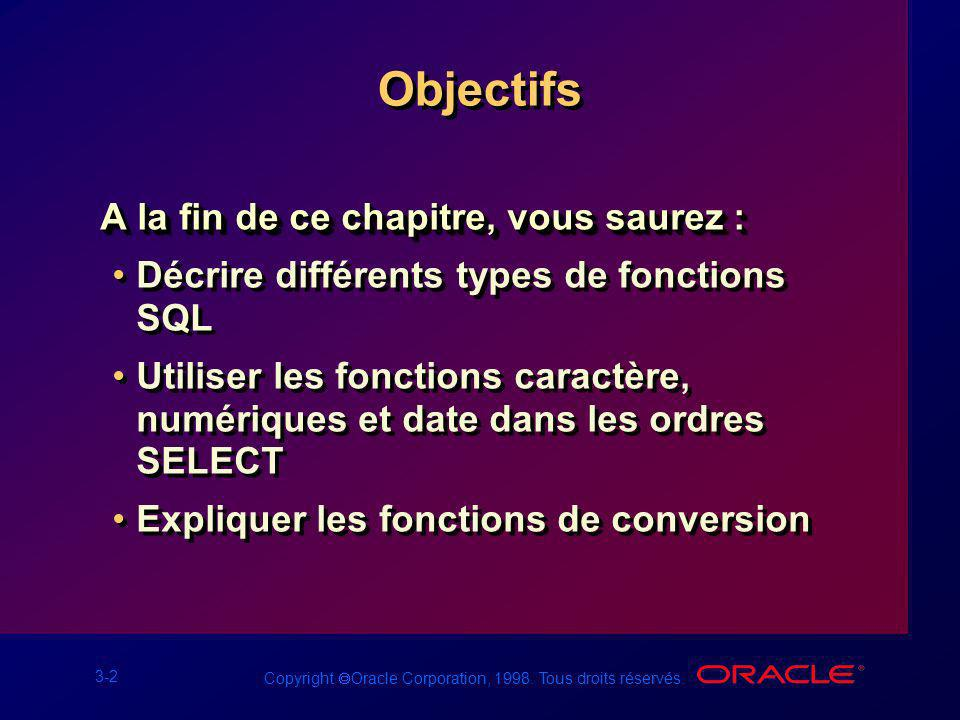 3-2 Copyright Oracle Corporation, 1998. Tous droits réservés. Objectifs A la fin de ce chapitre, vous saurez : Décrire différents types de fonctions S