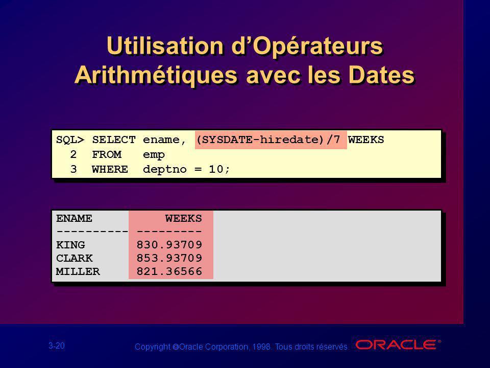 3-20 Copyright Oracle Corporation, 1998. Tous droits réservés. Utilisation dOpérateurs Arithmétiques avec les Dates SQL> SELECT ename, (SYSDATE-hireda