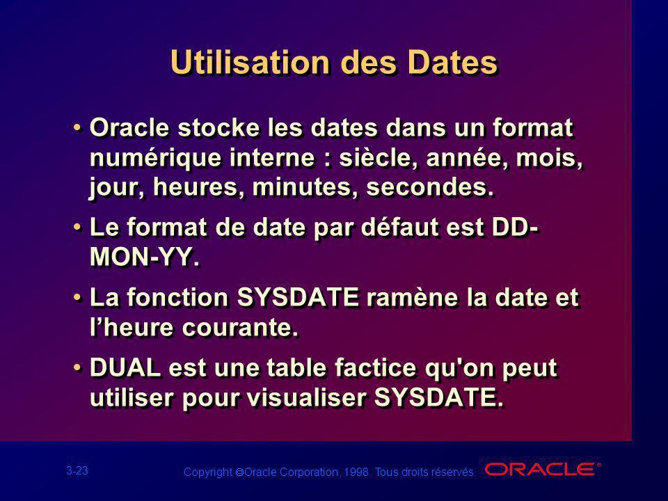 3-23 Copyright Oracle Corporation, 1998. Tous droits réservés. Utilisation des Dates Oracle stocke les dates dans un format numérique interne : siècle