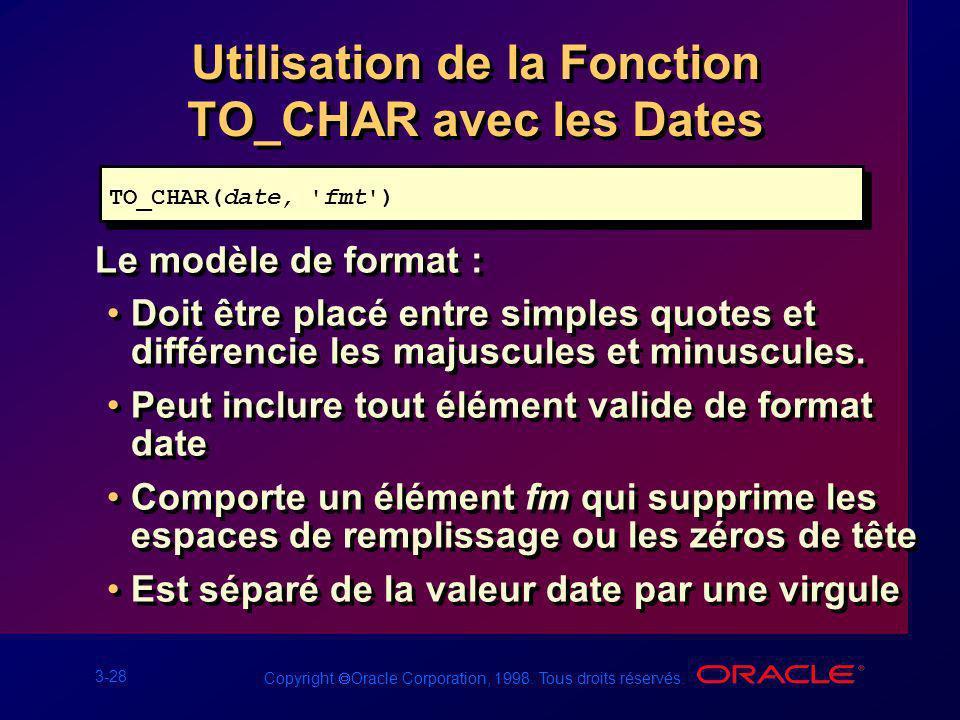 3-28 Copyright Oracle Corporation, 1998. Tous droits réservés. Utilisation de la Fonction TO_CHAR avec les Dates Le modèle de format : Doit être placé