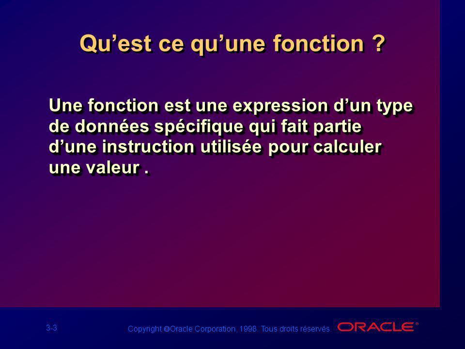 3-3 Copyright Oracle Corporation, 1998. Tous droits réservés. Quest ce quune fonction ? Une fonction est une expression dun type de données spécifique
