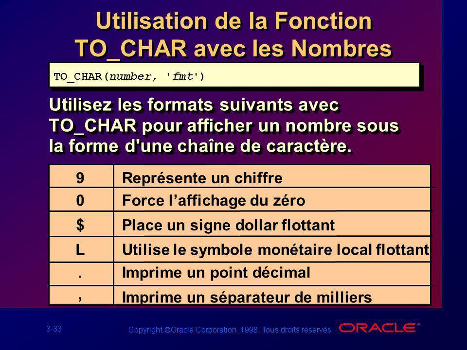 3-33 Copyright Oracle Corporation, 1998. Tous droits réservés. Utilisation de la Fonction TO_CHAR avec les Nombres Utilisez les formats suivants avec