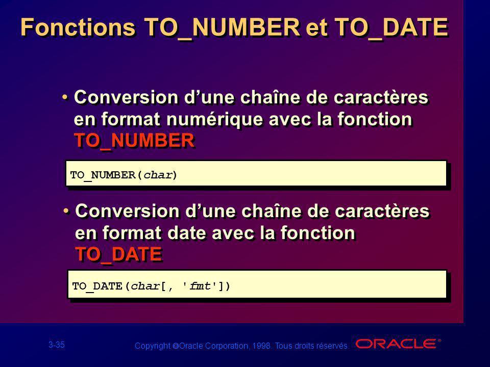 3-35 Copyright Oracle Corporation, 1998. Tous droits réservés. Fonctions TO_NUMBER et TO_DATE Conversion dune chaîne de caractères en format numérique