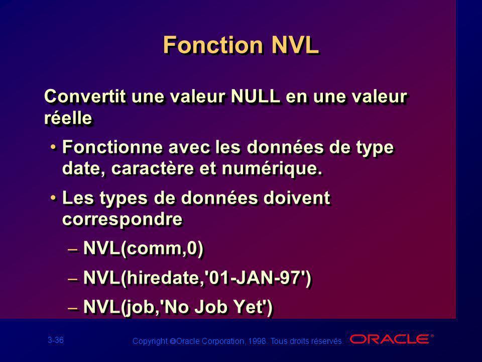 3-36 Copyright Oracle Corporation, 1998. Tous droits réservés. Fonction NVL Convertit une valeur NULL en une valeur réelle Fonctionne avec les données