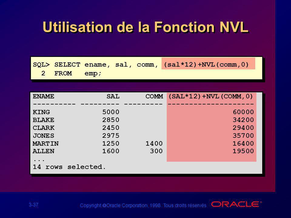 3-37 Copyright Oracle Corporation, 1998. Tous droits réservés. SQL> SELECT ename, sal, comm, (sal*12)+NVL(comm,0) 2 FROM emp; Utilisation de la Foncti