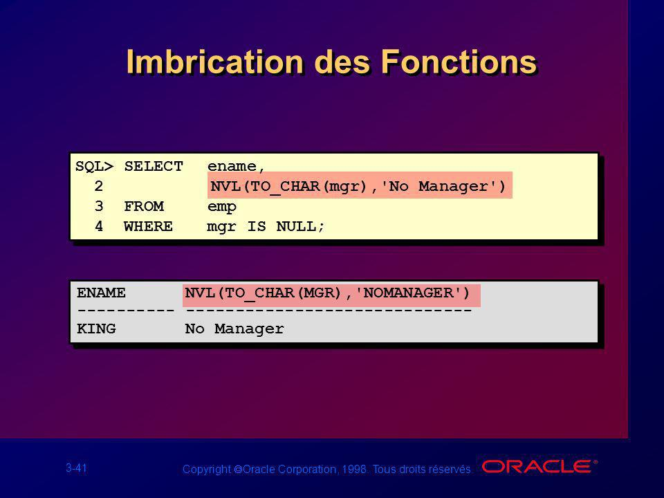 3-41 Copyright Oracle Corporation, 1998. Tous droits réservés. Imbrication des Fonctions SQL> SELECTename, 2 NVL(TO_CHAR(mgr),'No Manager') 3 FROMemp
