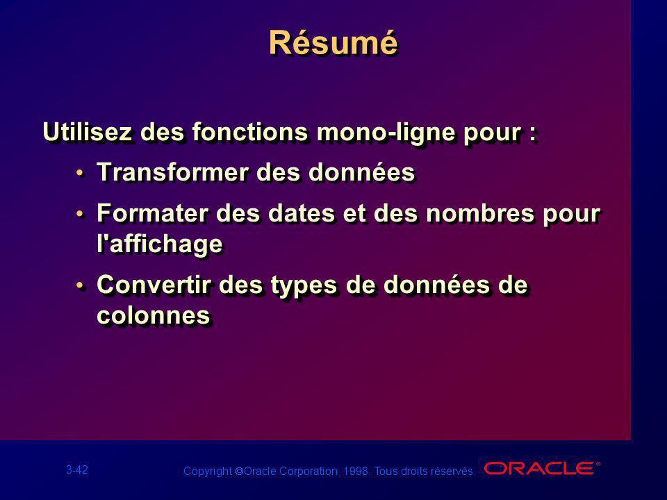 3-42 Copyright Oracle Corporation, 1998. Tous droits réservés. Résumé Utilisez des fonctions mono-ligne pour : Transformer des données Formater des da