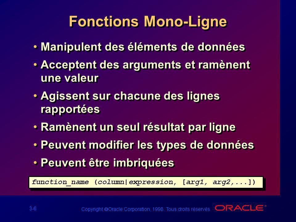 3-6 Copyright Oracle Corporation, 1998. Tous droits réservés. Fonctions Mono-Ligne Manipulent des éléments de données Acceptent des arguments et ramèn