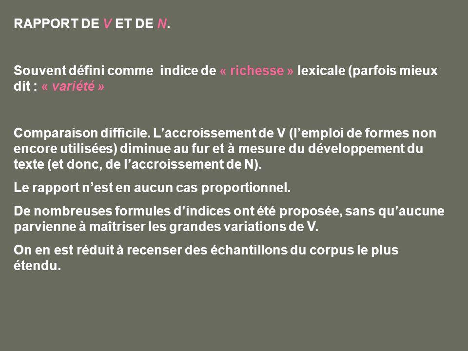 RAPPORT DE V ET DE N. Souvent défini comme indice de « richesse » lexicale (parfois mieux dit : « variété » Comparaison difficile. Laccroissement de V
