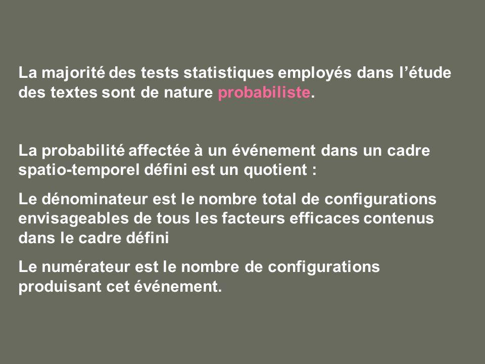 La majorité des tests statistiques employés dans létude des textes sont de nature probabiliste. La probabilité affectée à un événement dans un cadre s