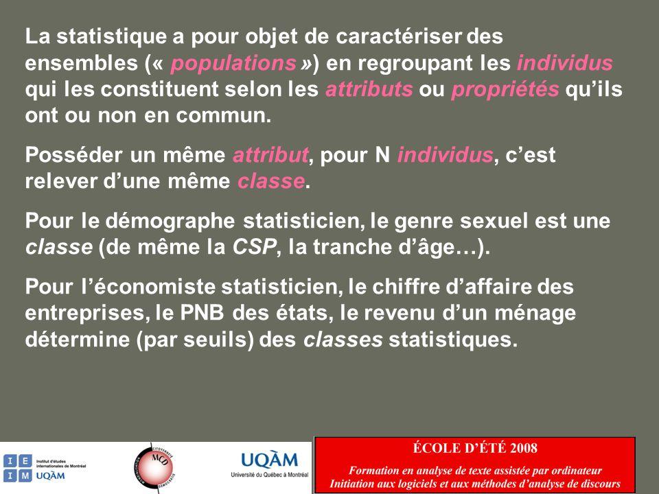 Que la propriété soit qualitative (sexe, CSP, lieu dimplantation) ou quantitative (taille, âge, PNB), elle doit le plus souvent être discrétisée pour donner prise à la statistique.