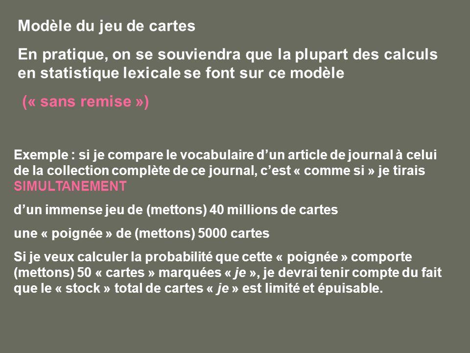 Modèle du jeu de cartes En pratique, on se souviendra que la plupart des calculs en statistique lexicale se font sur ce modèle (« sans remise ») Exemp