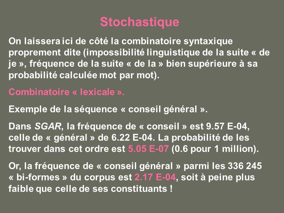 Stochastique On laissera ici de côté la combinatoire syntaxique proprement dite (impossibilité linguistique de la suite « de je », fréquence de la suite « de la » bien supérieure à sa probabilité calculée mot par mot).