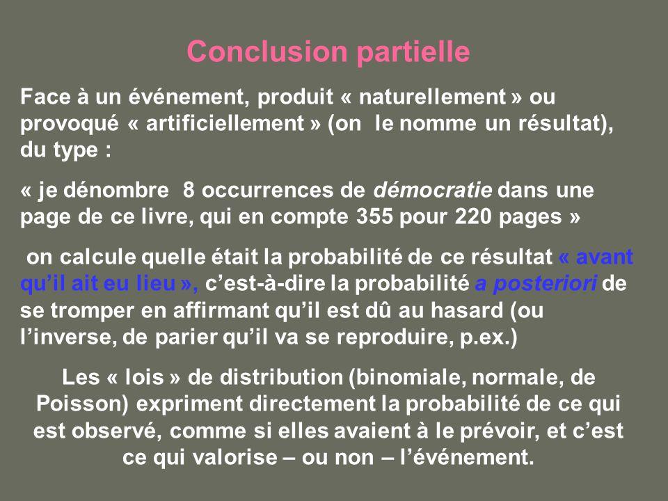 Conclusion partielle Face à un événement, produit « naturellement » ou provoqué « artificiellement » (on le nomme un résultat), du type : « je dénombr