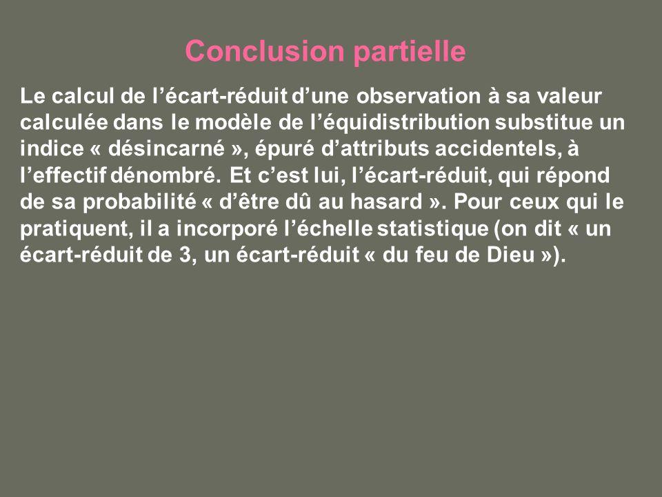 Conclusion partielle Le calcul de lécart-réduit dune observation à sa valeur calculée dans le modèle de léquidistribution substitue un indice « désincarné », épuré dattributs accidentels, à leffectif dénombré.
