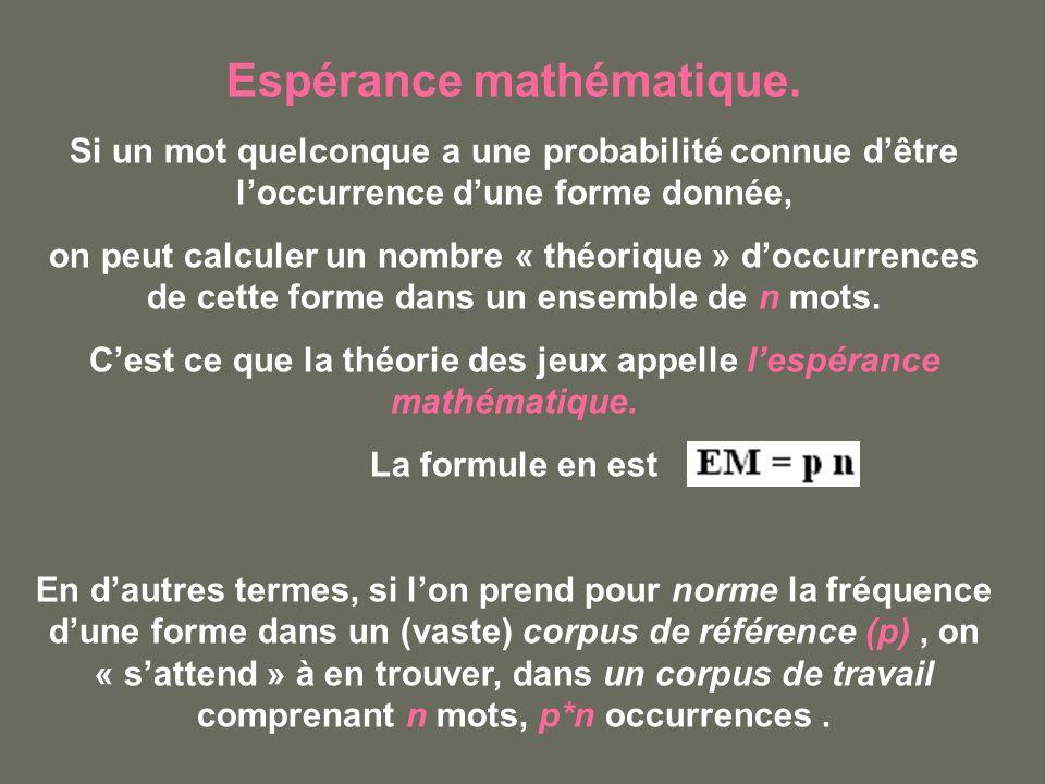 Espérance mathématique.