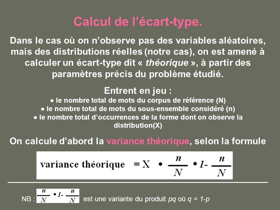 Calcul de lécart-type. Dans le cas où on nobserve pas des variables aléatoires, mais des distributions réelles (notre cas), on est amené à calculer un