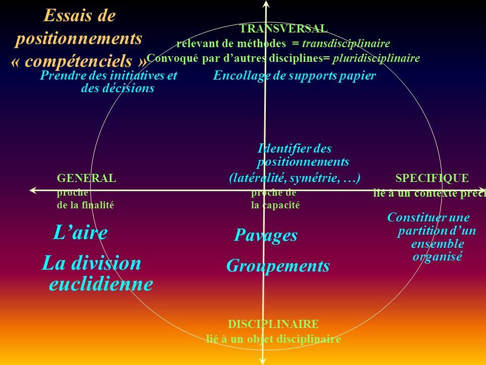 GENERAL proche proche de de la finalité la capacité Essais de positionnements « compétenciels » SPECIFIQUE lié à un contexte précis TRANSVERSAL relevant de méthodes = transdisciplinaire Convoqué par dautres disciplines= pluridisciplinaire DISCIPLINAIRE lié à un objet disciplinaire Laire Prendre des initiatives et des décisions Constituer une partition dun ensemble organisé Identifier des positionnements (latéralité, symétrie, …) Pavages Encollage de supports papier La division euclidienne Groupements