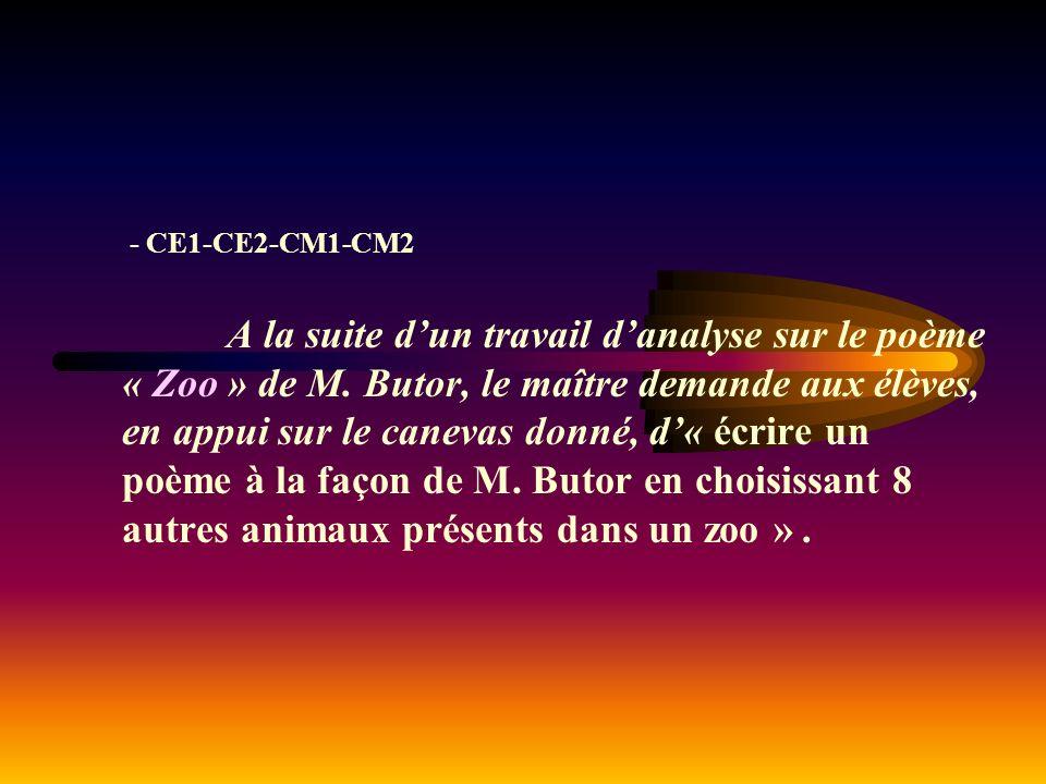 - CE1-CE2-CM1-CM2 A la suite dun travail danalyse sur le poème « Zoo » de M.