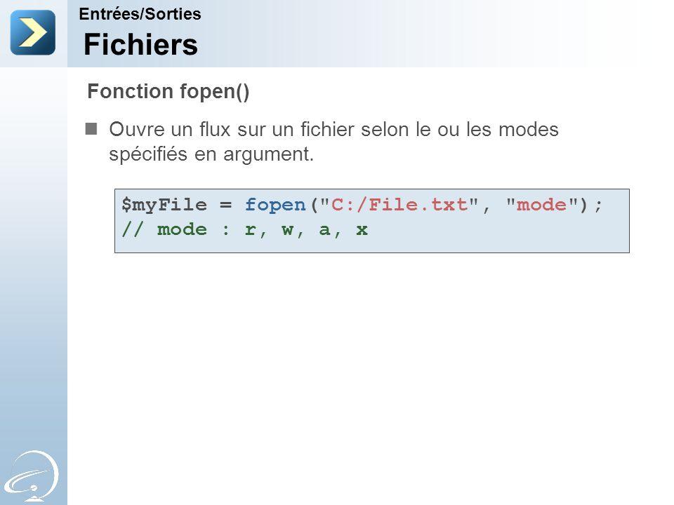 Fichiers Ouvre un flux sur un fichier selon le ou les modes spécifiés en argument. Entrées/Sorties Fonction fopen() $myFile = fopen(