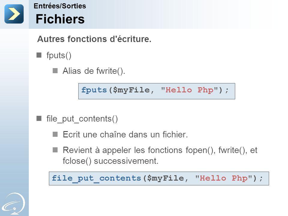 Fichiers fputs() Alias de fwrite(). file_put_contents() Ecrit une chaîne dans un fichier. Revient à appeler les fonctions fopen(), fwrite(), et fclose